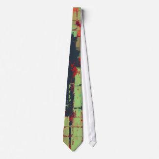 Green Lattice Abstract Art Tie