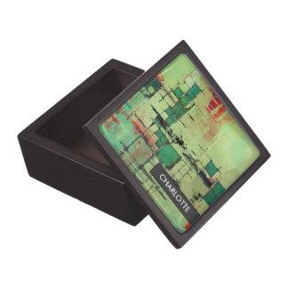 Green Lattice Harmony Abstract Art Trinket Box
