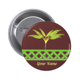 Green Lattice Name Badge 2 Inch Round Button
