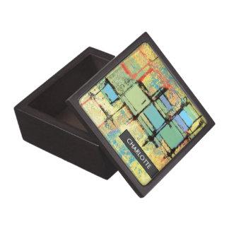 Green Lattice on Yellow Abstract Art Trinket Box