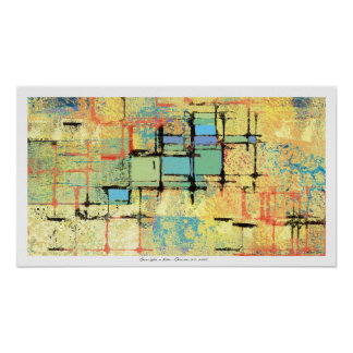 Green Lattice on Yellow Abstract Painting Poster