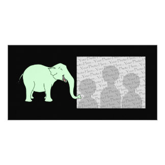 Green Laughing Elephant. Cartoon. Card