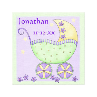 Green Lavender Baby Buggy Name Birth Date Art Canvas Print
