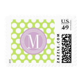 Green & Lavender Big Polka Dots Monogrammed Stamp