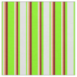 [ Thumbnail: Green, Lavender, Brown & Maroon Colored Stripes Fabric ]