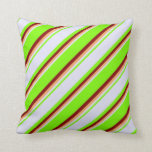 [ Thumbnail: Green, Lavender, Brown & Maroon Colored Stripes Throw Pillow ]