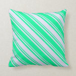 [ Thumbnail: Green & Lavender Colored Pattern Throw Pillow ]