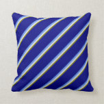 [ Thumbnail: Green, Lavender, Cornflower Blue, and Blue Colored Throw Pillow ]