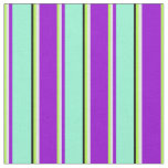 [ Thumbnail: Green, Lavender, Dark Violet, Aquamarine & Black Fabric ]