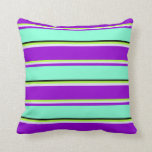[ Thumbnail: Green, Lavender, Dark Violet, Aquamarine & Black Throw Pillow ]
