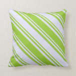 [ Thumbnail: Green & Lavender Lines Throw Pillow ]