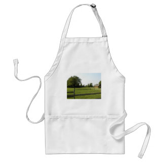 Green Lawn with Wood Fence and Trees Adult Apron