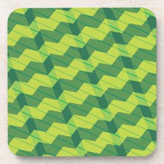 Green Layered Zigag Beverage Coaster