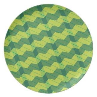 Green Layered Zigag Melamine Plate