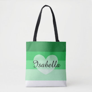 Green Layers Personalized Name Tote Bag
