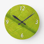 Green Leaf Abstract Nature Photography Round Clock