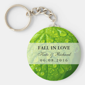 Green Leaf and Water Drops Wedding Favor Keychain