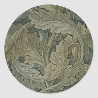Green Leaf Art Nouveau Sticker
