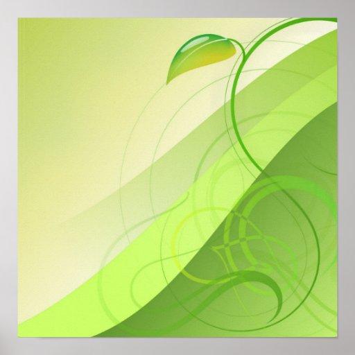 Green Leaf Background Poster
