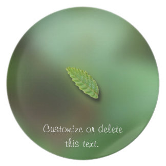 Green Leaf Blurred Background; Customizable Plate