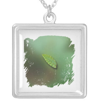 Green Leaf Blurred Background; No Greeting Silver Plated Necklace