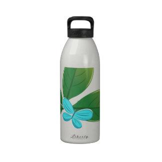 Green leaf butterfly water bottle