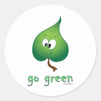 Green Leaf Classic Round Sticker