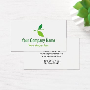 Professional Business Green leaf company logo business card template