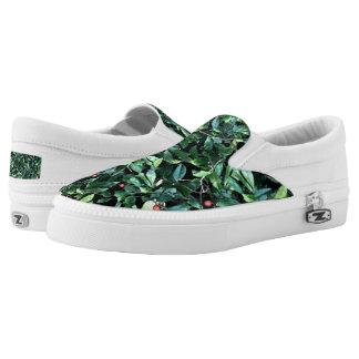 Green Leaf Custom Zipz Slip On Shoes