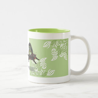 green leaf design with cat fairy butterfly mug
