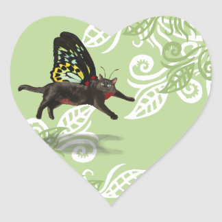 green leaf design with cat fairy butterfly sticker
