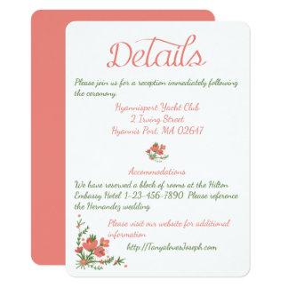 Green Leaf Directions Details Wedding Leaves Card