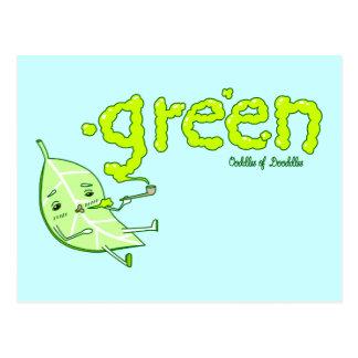 Green Leaf Doodle Art Postcard