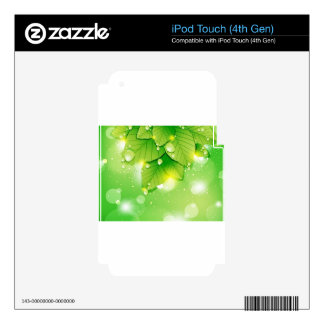 Green leaf ecology design decal for iPod touch 4G