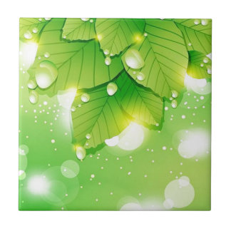 Green leaf ecology design small square tile