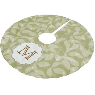 Green Leaf Floral Foli Monogram Initial Tree Skirt