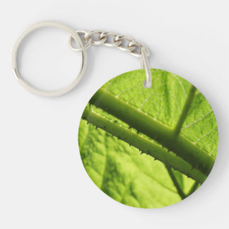 Green Leaf, focused on spiny center. Double-Sided Round Acrylic Keychain