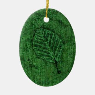 Green Leaf Fossil Ceramic Ornament