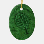 Green Leaf Fossil Christmas Tree Ornaments