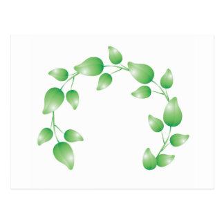 Green leaf garland ring postcard