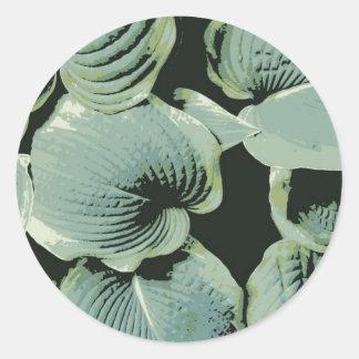 Green Leaf Hosta Classic Round Sticker