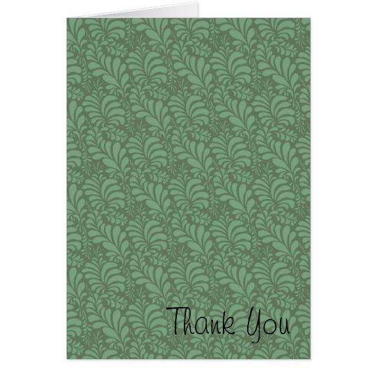 Green Leaf Motif Thank You Card