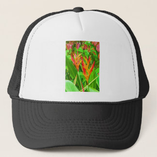 GREEN LEAF N PAIR FLOERS COLORFUL TRUCKER HAT