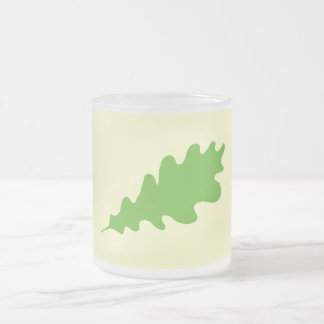 Green Leaf, Oak Tree leaf Design. 10 Oz Frosted Glass Coffee Mug