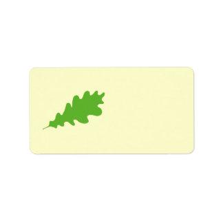 Green Leaf, Oak Tree leaf Design. Address Label