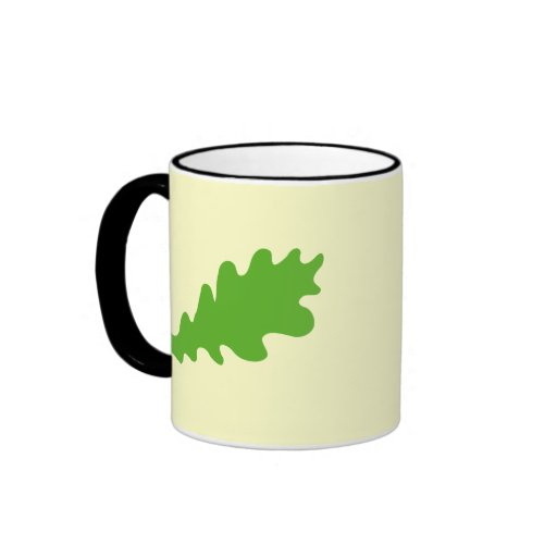 Green Leaf, Oak Tree leaf Design. Ringer Coffee Mug