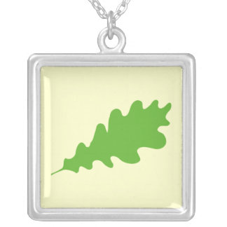 Green Leaf, Oak Tree leaf Design. Square Pendant Necklace