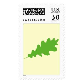 Green Leaf, Oak Tree leaf Design. Postage