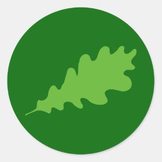 Green Leaf, Oak Tree leaf Design. Round Stickers