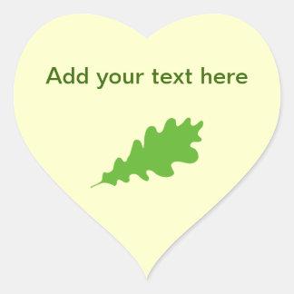 Green Leaf, Oak Tree leaf Design. Heart Sticker